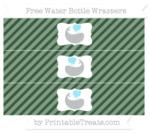 Free Hunter Green Diagonal Striped Whale Water Bottle Wrappers