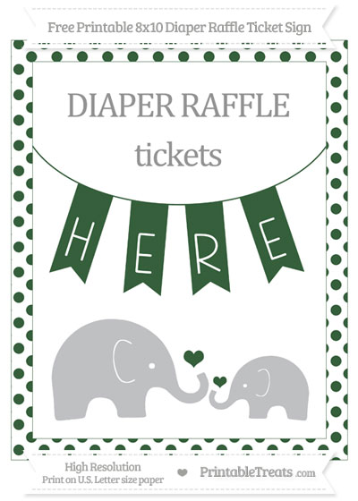 Free Hunter Green Dotted Elephant 8x10 Diaper Raffle Ticket Sign