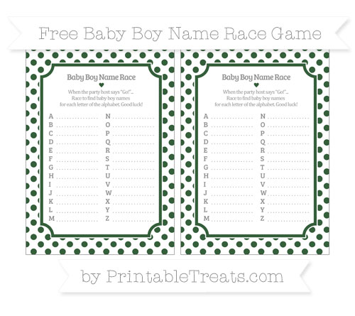 Free Hunter Green Dotted Pattern Baby Boy Name Race Game