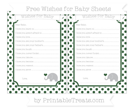Free Hunter Green Dotted Pattern Baby Elephant Wishes for Baby Sheets
