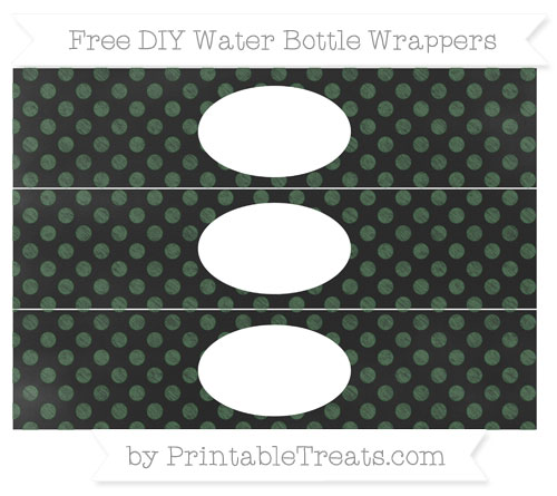 Free Hunter Green Dotted Pattern Chalk Style DIY Water Bottle Wrappers