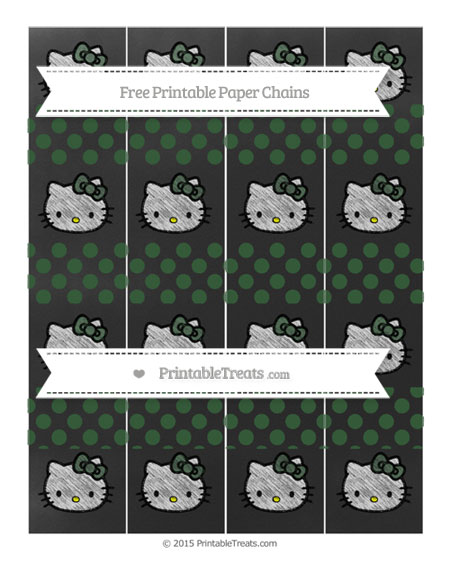 Free Hunter Green Dotted Pattern Chalk Style Hello Kitty Paper Chains