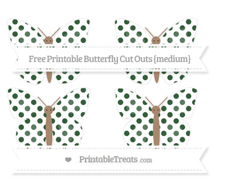 Free Hunter Green Dotted Pattern Medium Butterfly Cut Outs