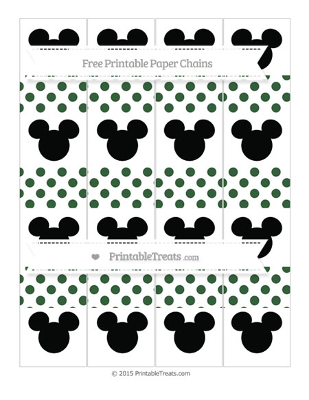 Free Hunter Green Dotted Pattern Mickey Mouse Paper Chains