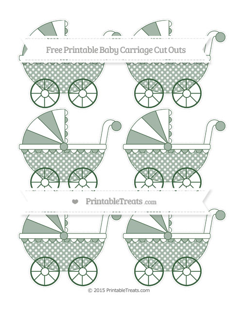 Free Hunter Green Dotted Pattern Small Baby Carriage Cut Outs