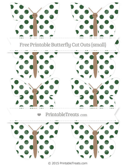 Free Hunter Green Dotted Pattern Small Butterfly Cut Outs