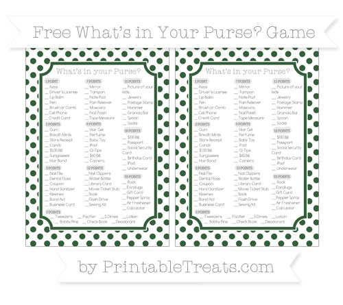 Free Hunter Green Dotted Pattern What's in Your Purse Baby Shower Game