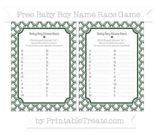 Free Hunter Green Fish Scale Pattern Baby Boy Name Race Game