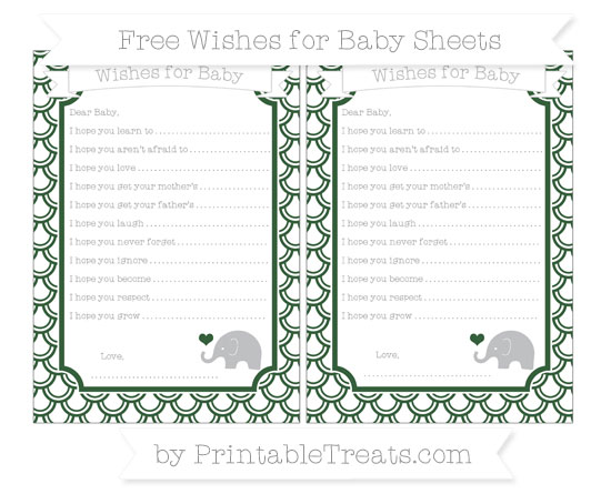 Free Hunter Green Fish Scale Pattern Baby Elephant Wishes for Baby Sheets