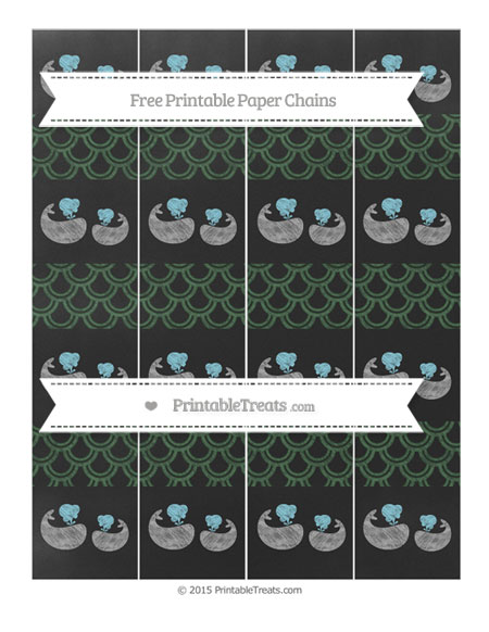 Free Hunter Green Fish Scale Pattern Chalk Style Baby Whale Paper Chains