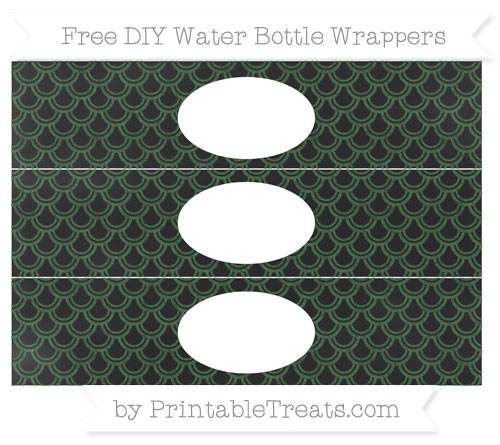Free Hunter Green Fish Scale Pattern Chalk Style DIY Water Bottle Wrappers