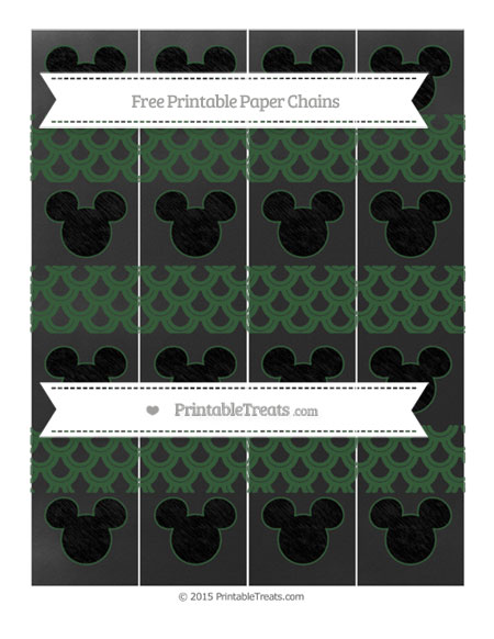 Free Hunter Green Fish Scale Pattern Chalk Style Mickey Mouse Paper Chains