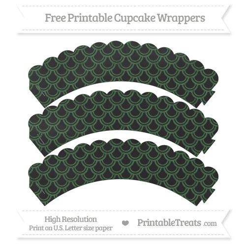 Free Hunter Green Fish Scale Pattern Chalk Style Scalloped Cupcake Wrappers