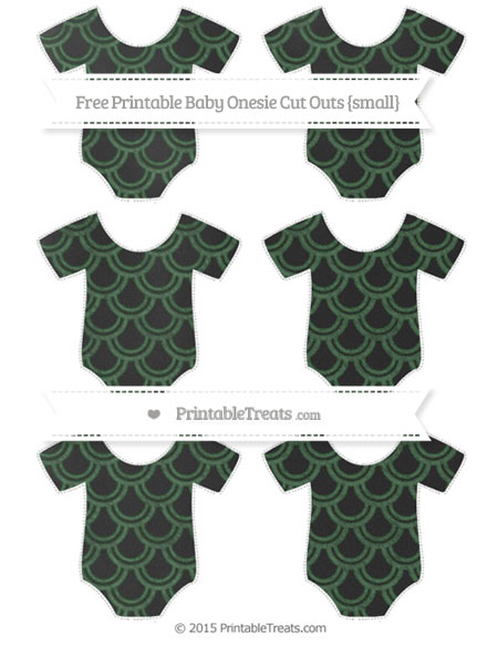 Free Hunter Green Fish Scale Pattern Chalk Style Small Baby Onesie Cut Outs