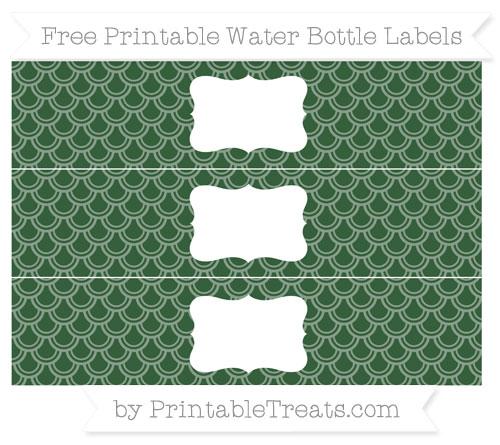 Free Hunter Green Fish Scale Pattern Water Bottle Labels
