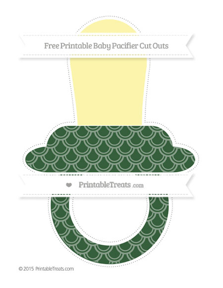 Free Hunter Green Fish Scale Pattern Extra Large Baby Pacifier Cut Outs