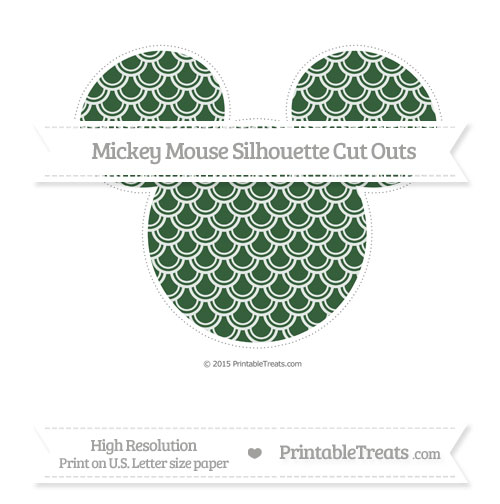 Free Hunter Green Fish Scale Pattern Extra Large Mickey Mouse Silhouette Cut Outs