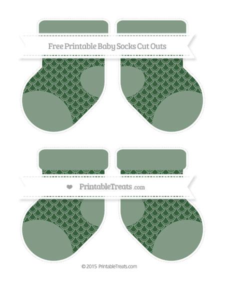Free Hunter Green Fish Scale Pattern Medium Baby Socks Cut Outs