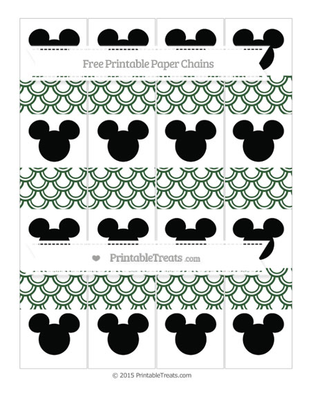 Free Hunter Green Fish Scale Pattern Mickey Mouse Paper Chains