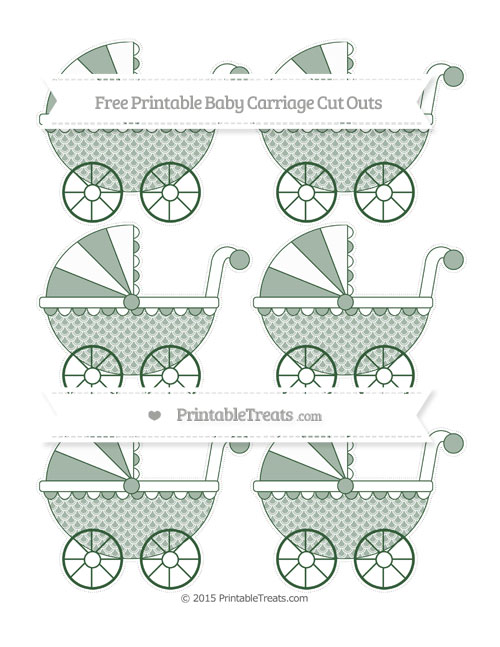 Free Hunter Green Fish Scale Pattern Small Baby Carriage Cut Outs
