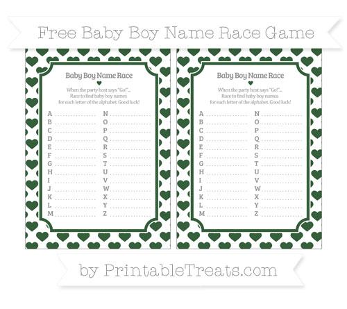 Free Hunter Green Heart Pattern Baby Boy Name Race Game