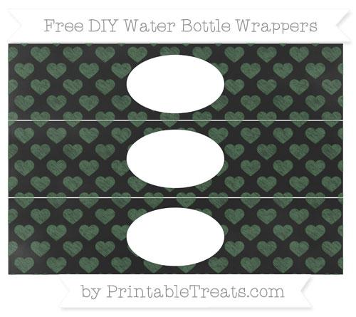 Free Hunter Green Heart Pattern Chalk Style DIY Water Bottle Wrappers