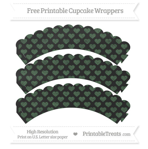Free Hunter Green Heart Pattern Chalk Style Scalloped Cupcake Wrappers