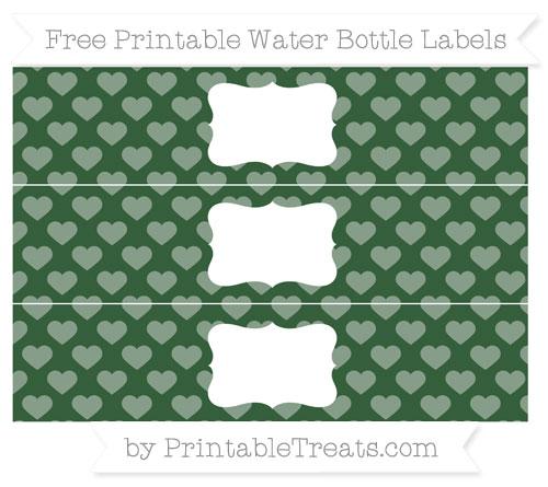 Free Hunter Green Heart Pattern Water Bottle Labels