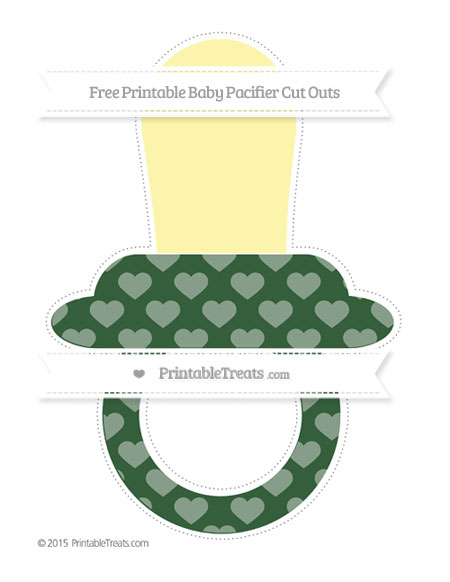 Free Hunter Green Heart Pattern Extra Large Baby Pacifier Cut Outs