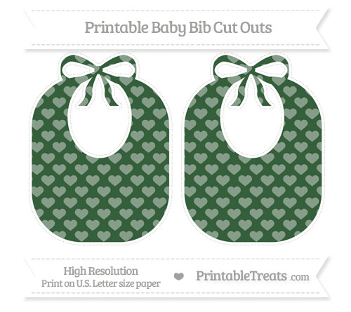 Free Hunter Green Heart Pattern Large Baby Bib Cut Outs