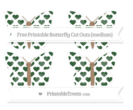 Free Hunter Green Heart Pattern Medium Butterfly Cut Outs
