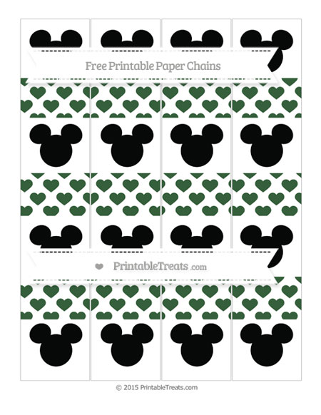Free Hunter Green Heart Pattern Mickey Mouse Paper Chains