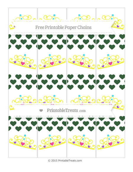 Free Hunter Green Heart Pattern Princess Tiara Paper Chains