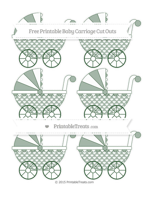Free Hunter Green Heart Pattern Small Baby Carriage Cut Outs