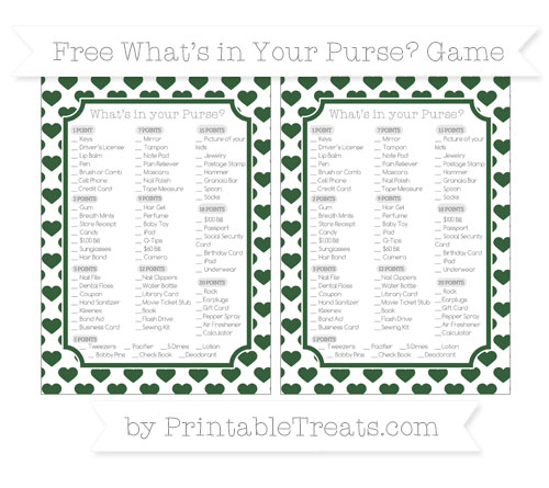 Free Hunter Green Heart Pattern What's in Your Purse Baby Shower Game