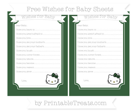 Free Hunter Green Hello Kitty Wishes for Baby Sheets
