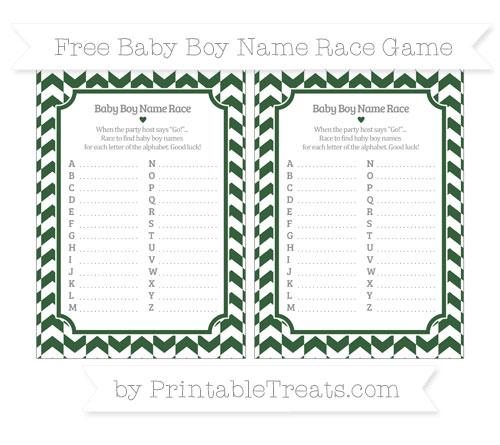 Free Hunter Green Herringbone Pattern Baby Boy Name Race Game