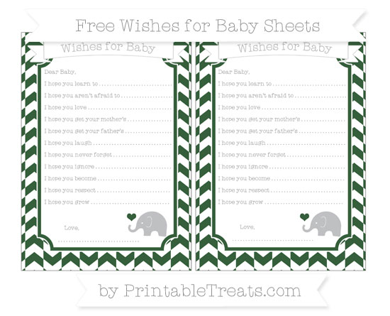 Free Hunter Green Herringbone Pattern Baby Elephant Wishes for Baby Sheets