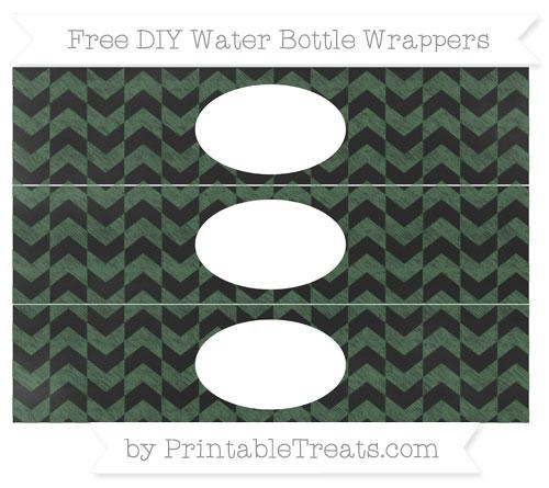 Free Hunter Green Herringbone Pattern Chalk Style DIY Water Bottle Wrappers