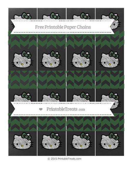 Free Hunter Green Herringbone Pattern Chalk Style Hello Kitty Paper Chains