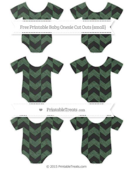 Free Hunter Green Herringbone Pattern Chalk Style Small Baby Onesie Cut Outs