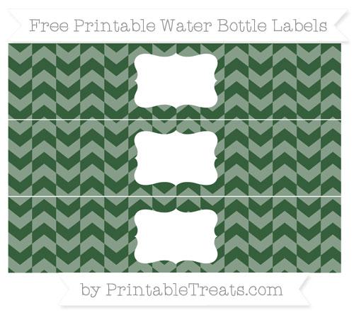 Free Hunter Green Herringbone Pattern Water Bottle Labels