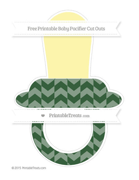 Free Hunter Green Herringbone Pattern Extra Large Baby Pacifier Cut Outs