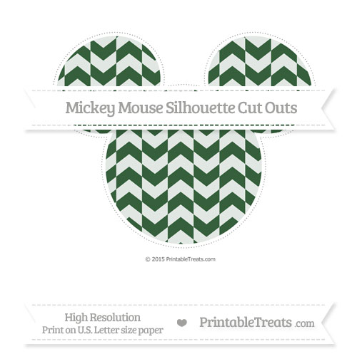 Free Hunter Green Herringbone Pattern Extra Large Mickey Mouse Silhouette Cut Outs