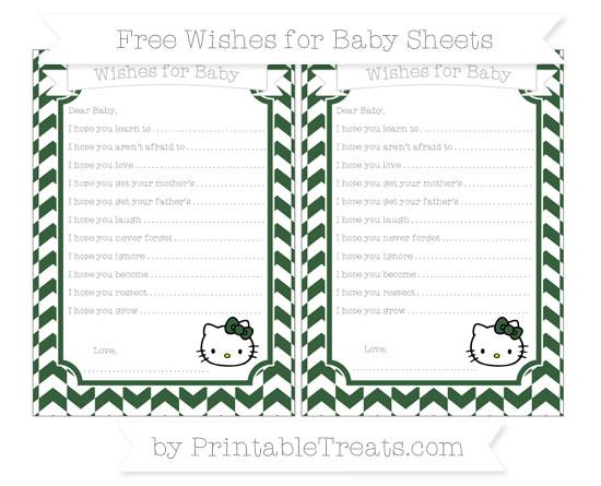 Free Hunter Green Herringbone Pattern Hello Kitty Wishes for Baby Sheets