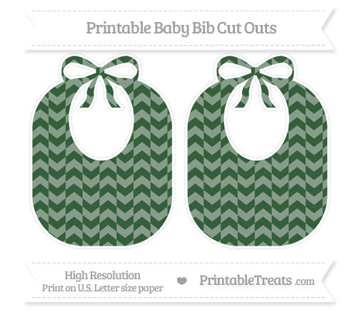 Free Hunter Green Herringbone Pattern Large Baby Bib Cut Outs