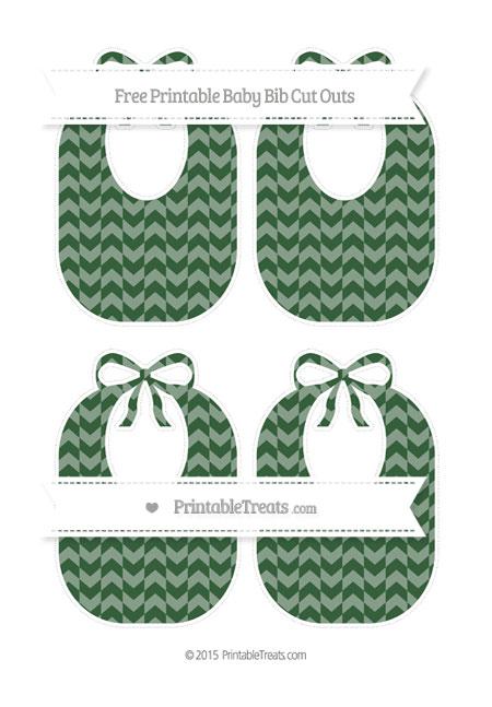 Free Hunter Green Herringbone Pattern Medium Baby Bib Cut Outs