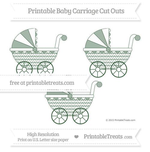 Free Hunter Green Herringbone Pattern Medium Baby Carriage Cut Outs