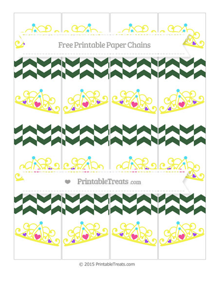 Free Hunter Green Herringbone Pattern Princess Tiara Paper Chains