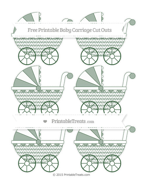 Free Hunter Green Herringbone Pattern Small Baby Carriage Cut Outs